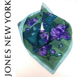 Jones New York Scarf Square Blue Green Puple Flora
